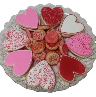 Decorated Heart & Mini Sprinkle Cookie Tray